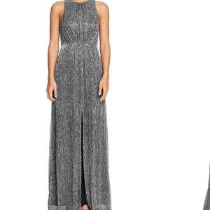 Halston Heritage Sleeveless Metallic Mesh Gown 8